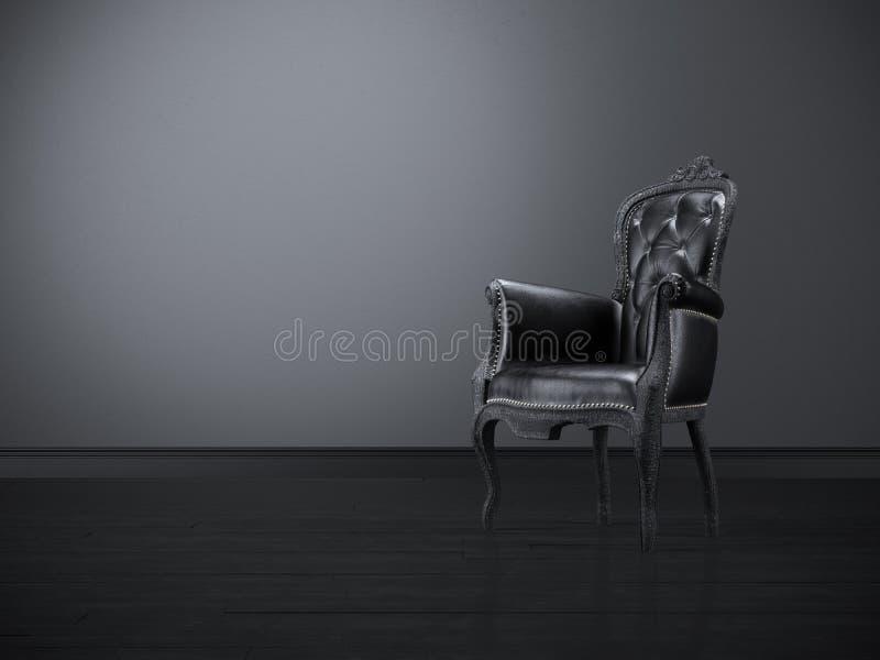 Presidenza nera dell'annata in una stanza scura fotografie stock libere da diritti