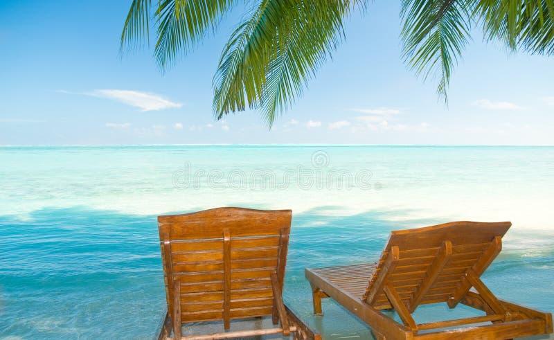 Presidenze della tela di canapa su una spiaggia tropicale immagine stock