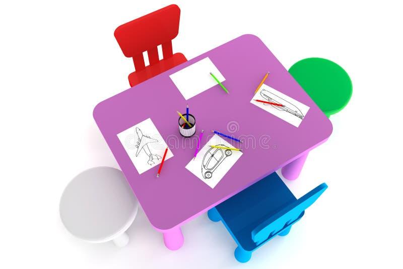 Presidenze di plastica variopinte e tabella del bambino immagini stock libere da diritti