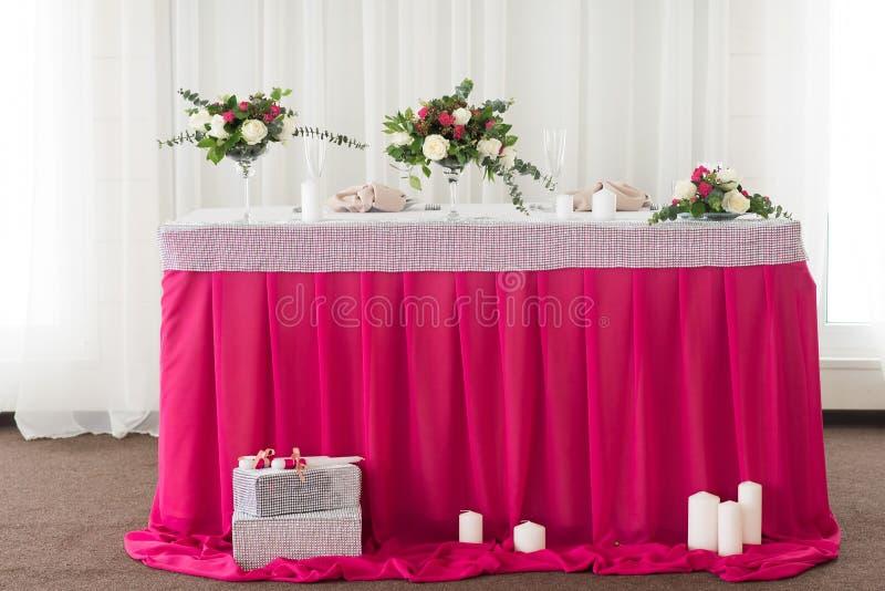 Presidium, boda de la tabla, para un par, dos indoor foto de archivo