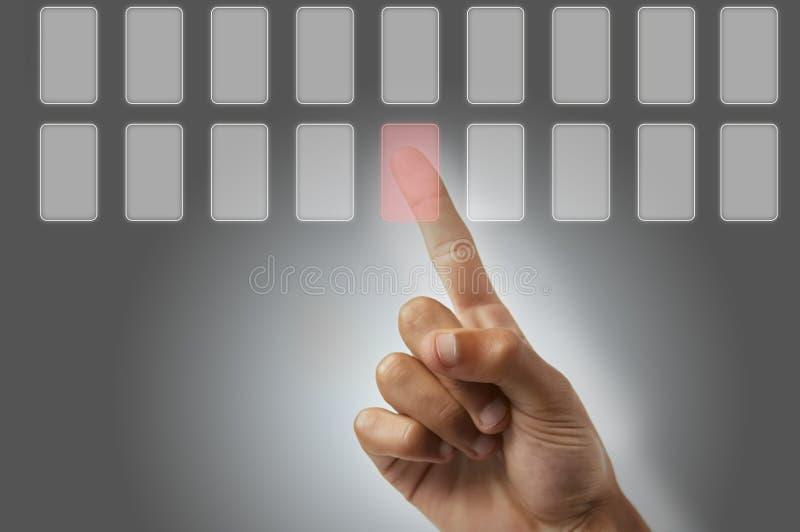 Download Presiona el botón imagen de archivo. Imagen de dedo, decida - 7150715