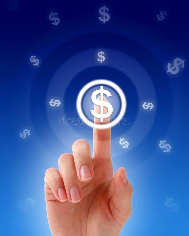 Presionado a mano un botón del dinero. imagen de archivo