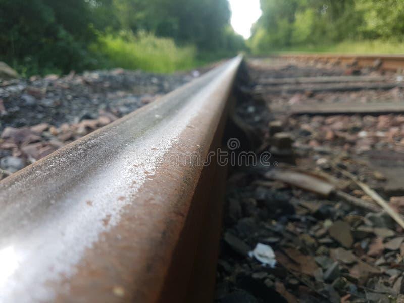 prespective av den järnväg linjen arkivfoto