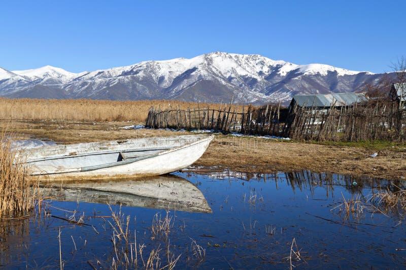 Prespes lake at Greece. Prespes lake at north Greece near the Greek-Albanian borders royalty free stock photography