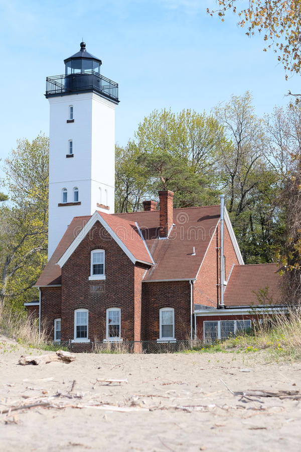 Presque Isle lighthouse, built in 1872. Lake Erie, Pennsylvania, USA stock photo
