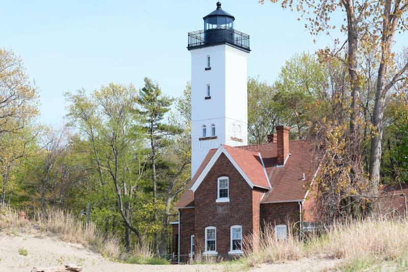 Presque Isle lighthouse, built in 1872. Lake Erie, Pennsylvania, USA royalty free stock image
