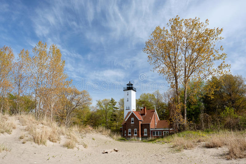 Presque Isle lighthouse, built in 1872. Lake Erie, Pennsylvania, USA stock photography
