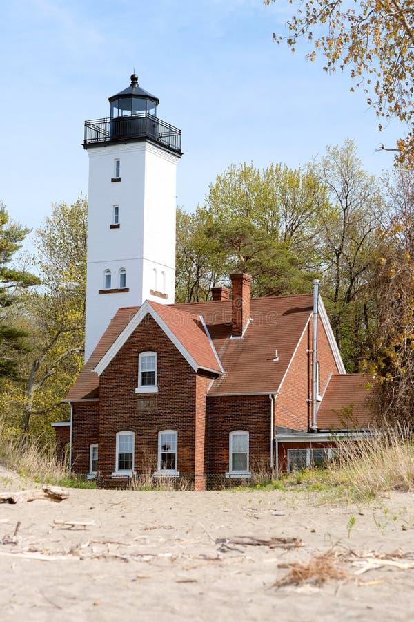 Presque Isle lighthouse, built in 1872. Lake Erie, Pennsylvania, USA royalty free stock photo