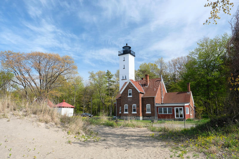 Presque Isle lighthouse, built in 1872. Lake Erie, Pennsylvania, USA royalty free stock images