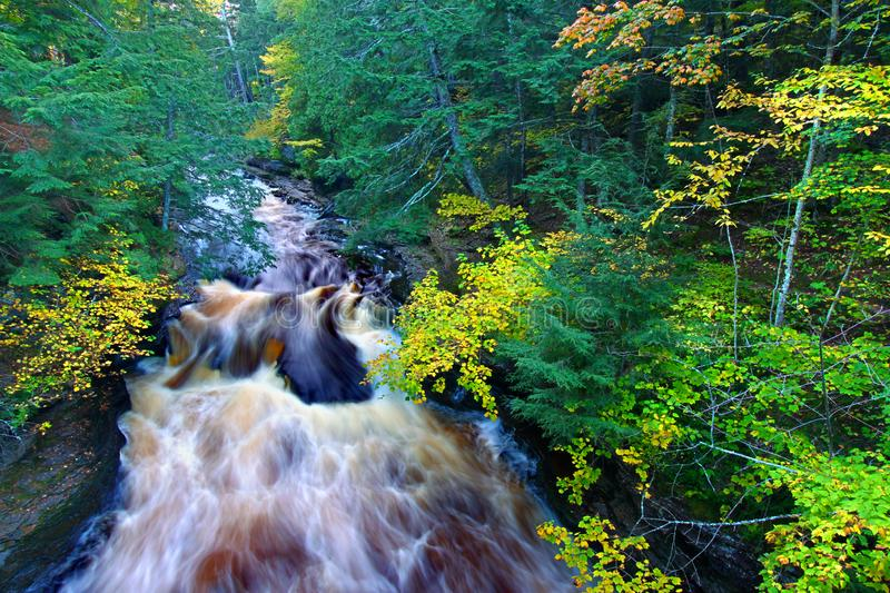 Presque Isle River Northwoods Michigan. River rapids on the Presque Isle River at Porcupine Mountains State Park in Michigan stock photography