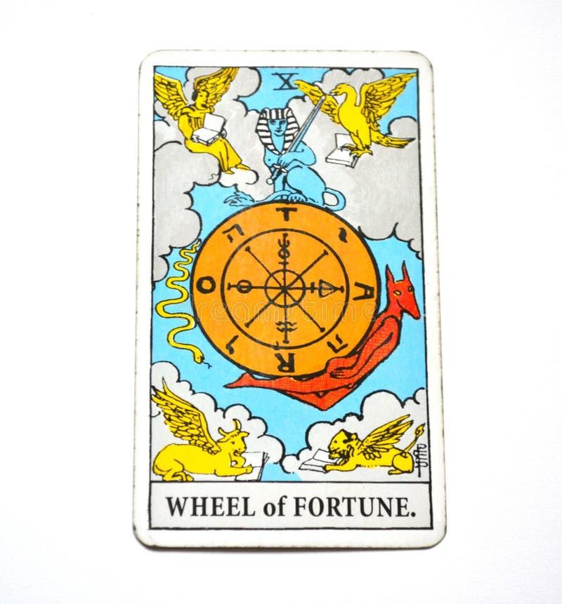 Presságio da abundância do crescimento do cartão de tarô da roda da fortuna bom foto de stock