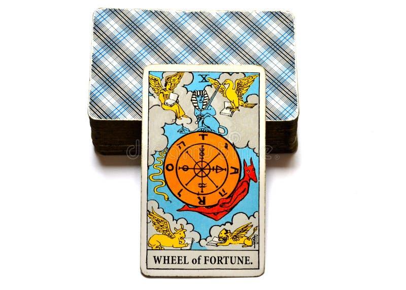 Presságio da abundância do crescimento do cartão de tarô da roda da fortuna bom ilustração royalty free