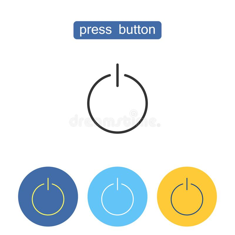 Press button outline icons set. royalty free illustration