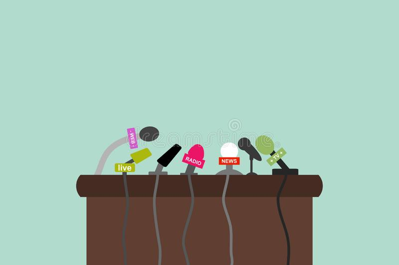 Flat Design background - Press conference with microphones stock illustration
