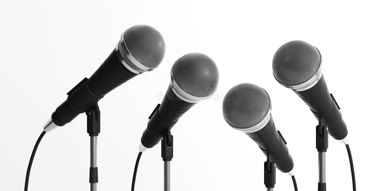 Microphones on stands isolated on white background. 3d illustration royalty free illustration