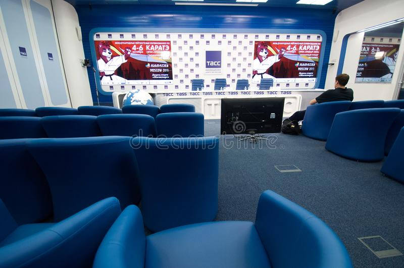 Press conference of International Karate Tournament `KARATE 1 - PREMIER LEAGUE` on 03.10.2019 in TASS center, Moscow, Russia. MOSCOW, RUSSIA - OCTOBER 3, 2019 stock image
