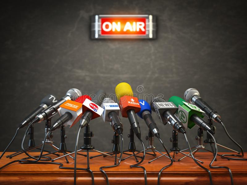 Press conference or interview on air. Microphones of different stock illustration