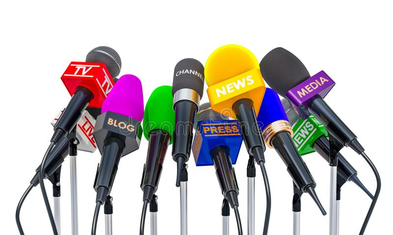 Press conference or interview concept. Microphones of different vector illustration