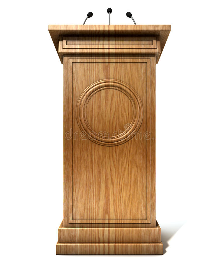 White Studio Background With Podium: Press Conference Podium Stock Image. Image Of Isolated