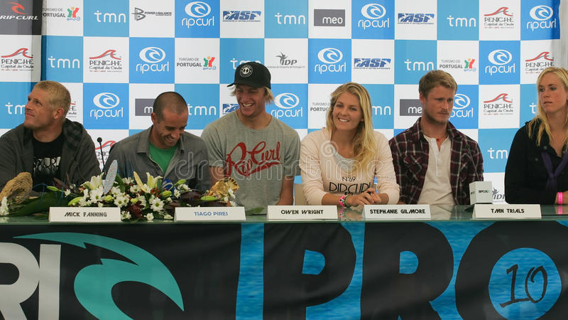 Press Conference of Rip Curl Pro 2010. PENICHE, PORTUGAL - OCTOBER 06 : Fanning, Tiago Pires, Owen Wright, Stephanie Gilmore, Marlon Lipke, Bethany Hamilton in stock photos