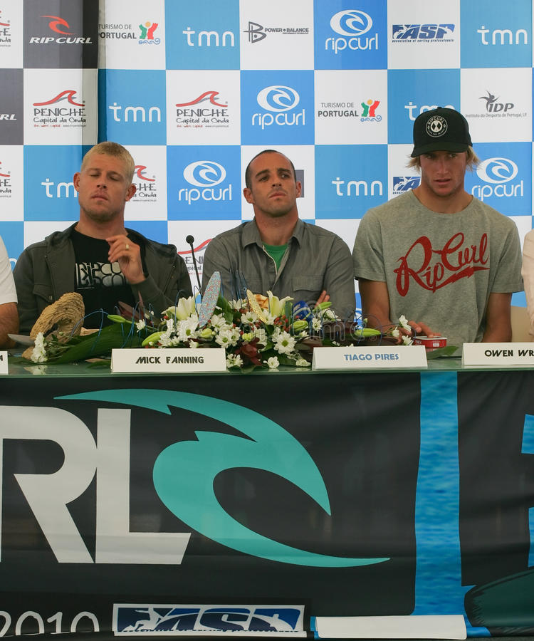 Press Conference of Rip Curl Pro 2010. PENICHE, PORTUGAL - OCTOBER 06 : Fanning, Tiago Pires, Owen Wright in Press Conference of Rip Curl Pro 2010 October 6 royalty free stock images