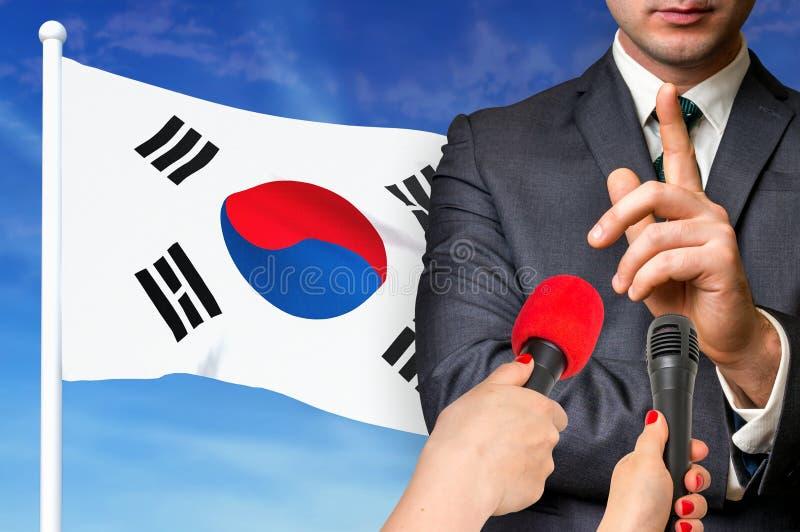 Press conference in South Korea stock photos