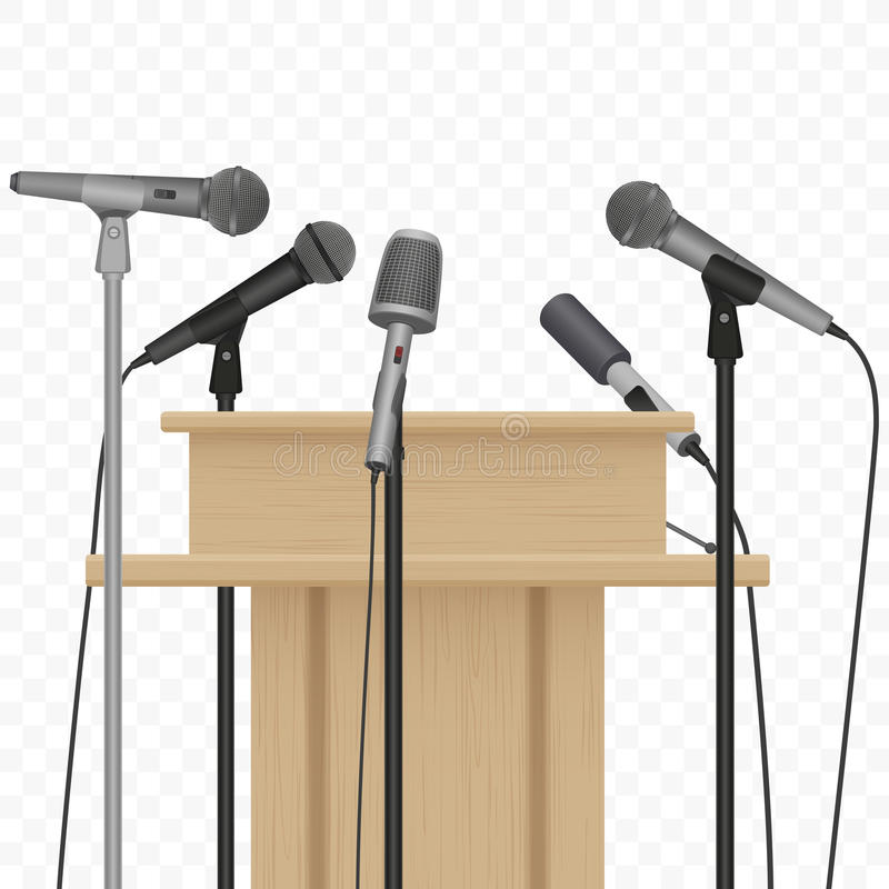 Press conference speaker podium tribune with microphones on the alpha background. royalty free illustration