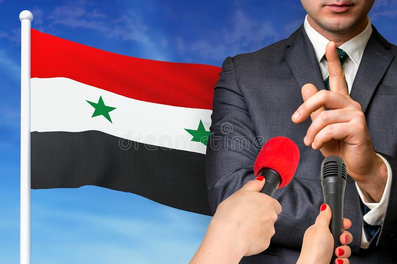 Press conference in Syria royalty free stock photos