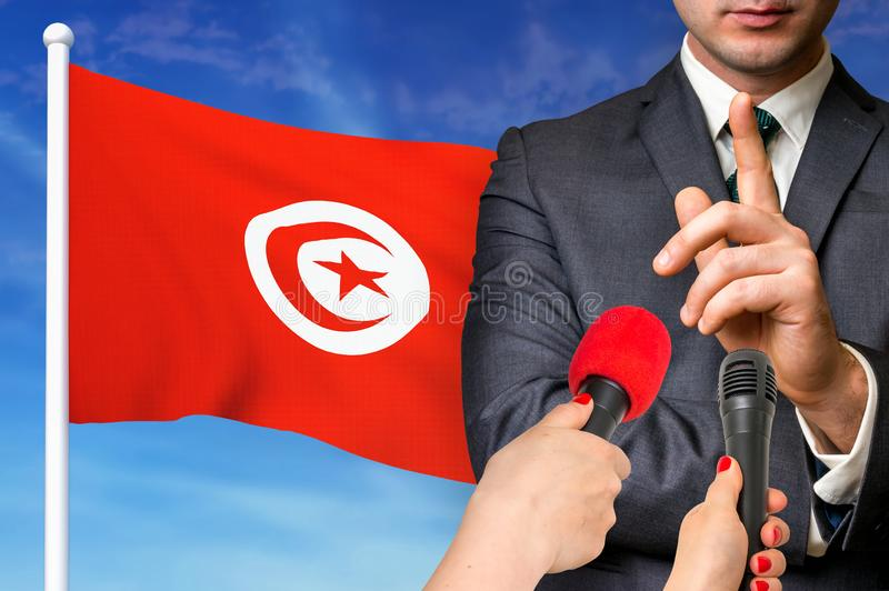 Press conference in Tunisia royalty free stock photo