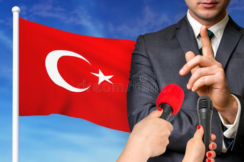Press conference in Turkey royalty free stock photo
