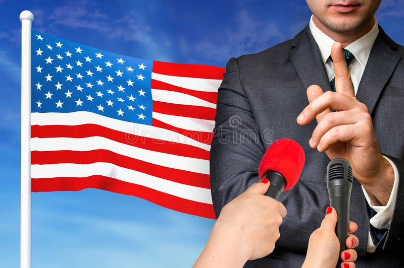 Press conference in United States of America. Candidate give interview to media. 3D rendered illustration stock photo