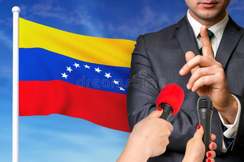 Press conference in Venezuela stock photography