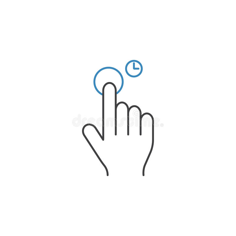 Press and Hold line icon, touch and hand gestures royalty free illustration