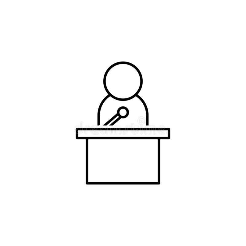 Press icon. Element of news thin line icon. On white background vector illustration
