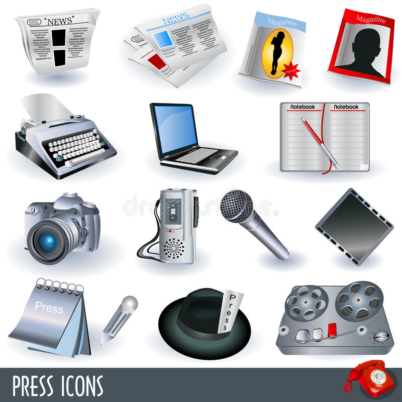 Press Icons Stock Photos