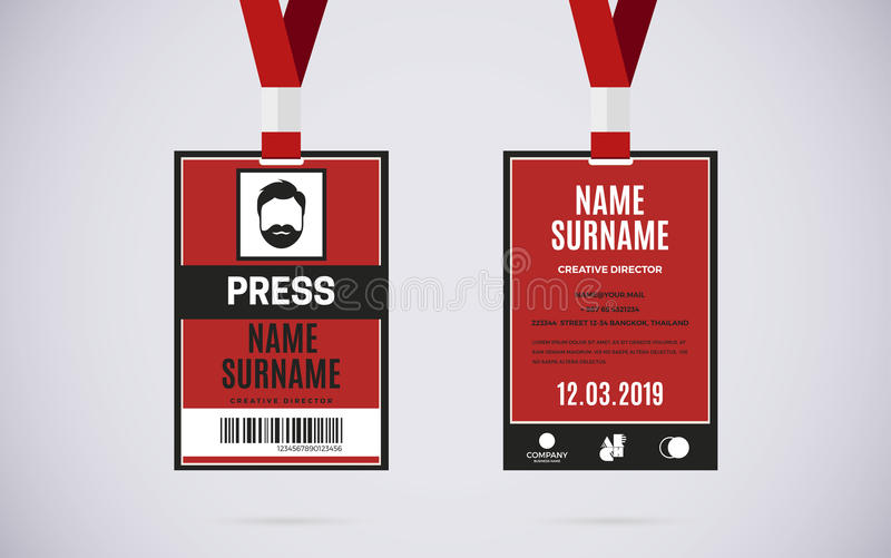 Press id card set vector design illustration royalty free illustration