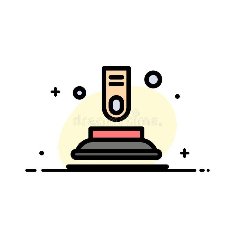 Press knappen, fingret, plan linje för startaffär fyllde mallen för symbolsvektorbanret vektor illustrationer