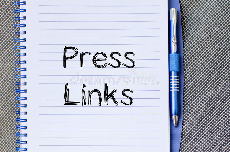 Press links concept on notebook. Press links text concept write on notebook stock photography