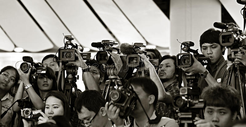 Press and media on news conference. royalty free stock image