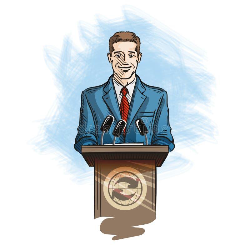 Press och massmediakonferens Talesman som talar in i mikrofoner till reporter stock illustrationer