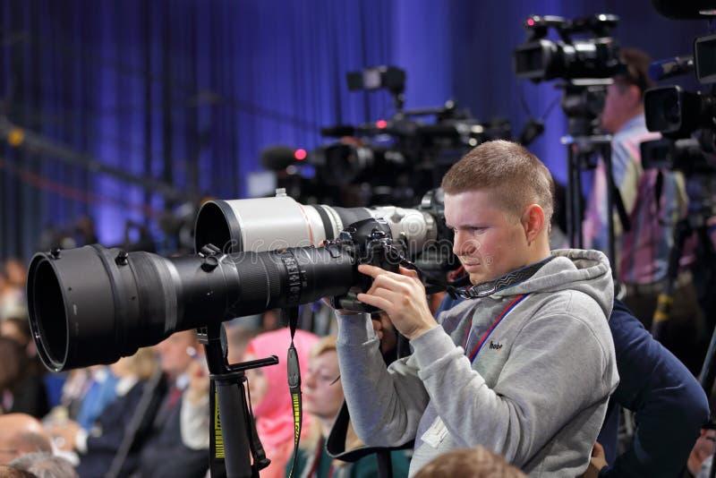 Press photographers stock image