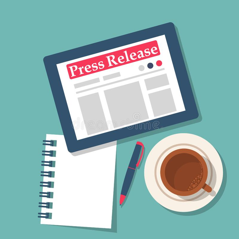 Press release concept. Tablet computer with news in on table. royalty free illustration