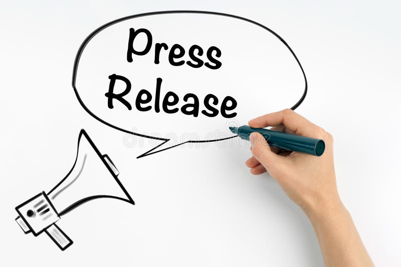 Press Release. Megaphone and text on a white background royalty free stock photos