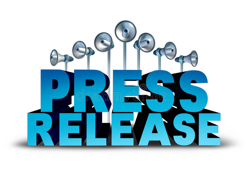 Press Release. News reporting and public relation communication concept as 3D illustration text with bullhorn or megaphone objects broadcasting an important royalty free illustration