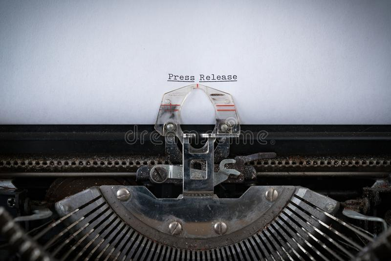 Press Release Typed on Typewriter. The phrase Press Release typed on an old Typewriter stock image