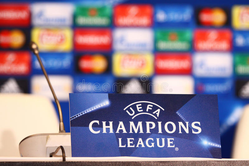 UEFA Detail: Press Room Details Seen During Press-conference Editorial