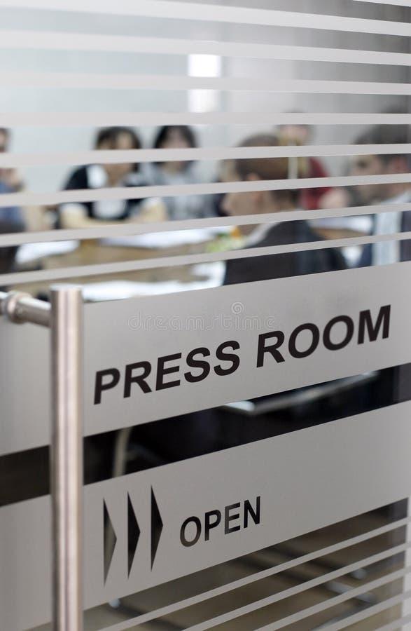 Press room - economics journalism stock photography