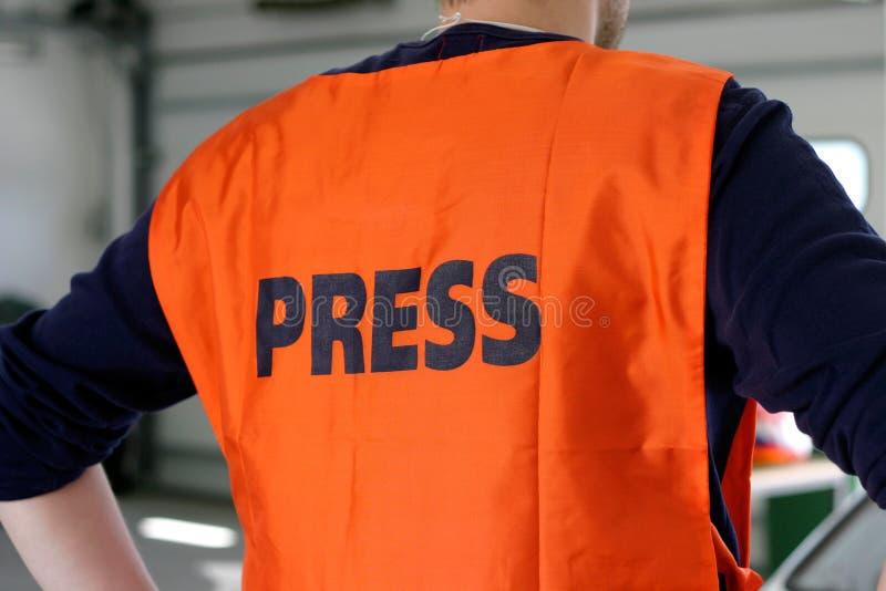 Press Safety Vest royalty free stock photography