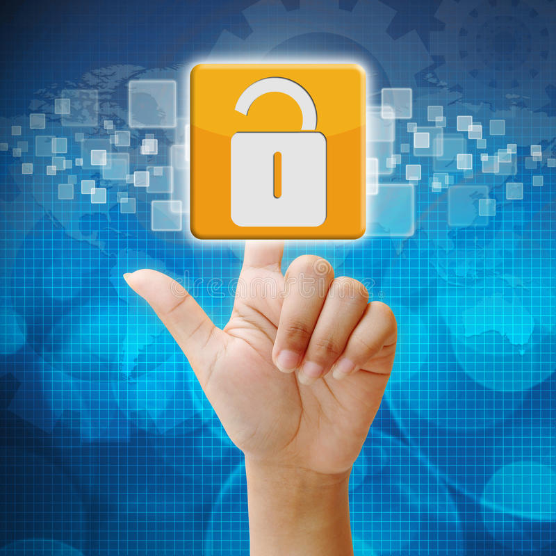 In press security icon on blue background. In press security icon on touch screen interface royalty free stock photography