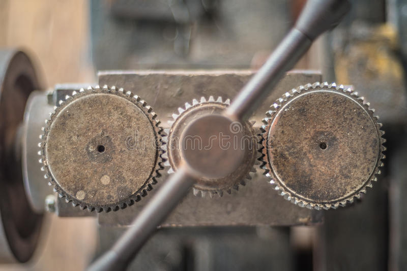 Press at silversmith`s workshop stock images
